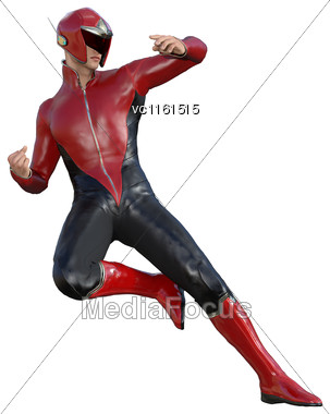 3D Digital Render Of A Superhero Isolated On White Background Stock Photo