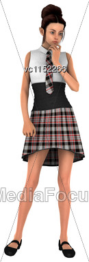 3D Digital Render Of A Teenager Schoolgirl Isolated On White Background Stock Photo