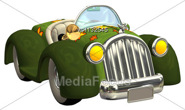 3D Digital Render Of A Toon Care Isolated On White Background Stock Photo