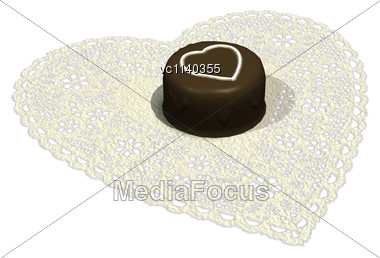 3D Digital Render Of A Valenine's Day Single Chocolate Candy Piece Isolated On White Background Stock Photo