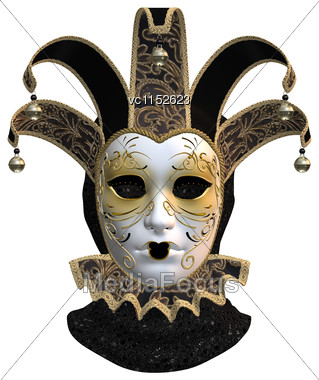 3D Digital Render Of A Venetian Mask Isolated On White Background Stock Photo