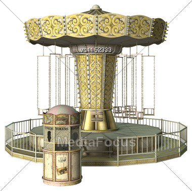 3D Digital Render Of A Vintage Swing Carousel And A Ticket Booth Isolated On White Background Stock Photo