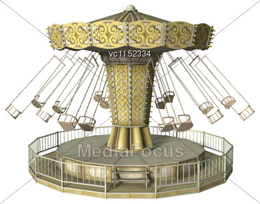 3D Digital Render Of A Vintage Swing Carousel Isolated On White Background Stock Photo