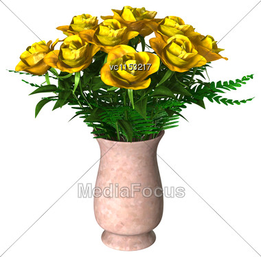 3D Digital Render Of Yellow Roses Isolated On White Background Stock Photo