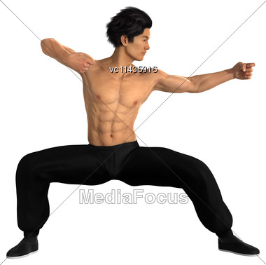 3D Digital Render Of A Young Asian Man Exercising Martial Arts Isolated On White Background Stock Photo