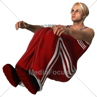 3D Digital Render Of A Young Man Exercising Isolated On White Background Stock Photo