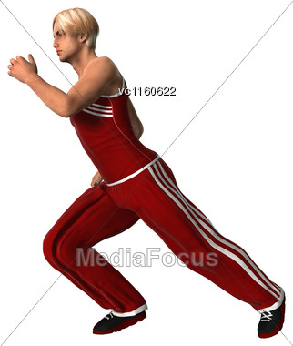 3D Digital Render Of A Young Man Running Isolated On White Background Stock Photo