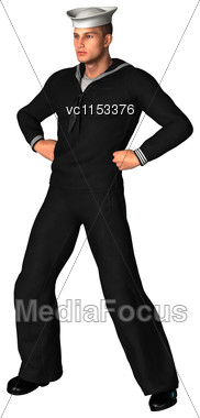 3D Digital Render Of A Young Seaman Isolated On White Background Stock Photo