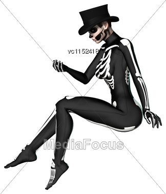 3D Digital Render Of A Young Woman Wearing A Skeleton Costume For Halloween Party Isolated On White Background Stock Photo