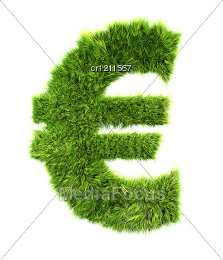 3d Grass Currency Sign - Euro Stock Photo