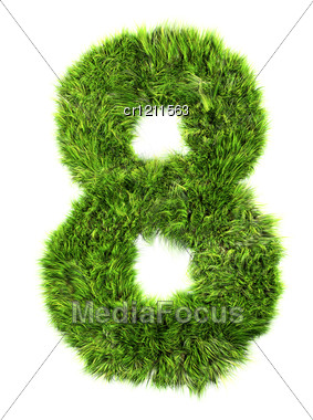 3d Grass Digit - 8 Stock Photo