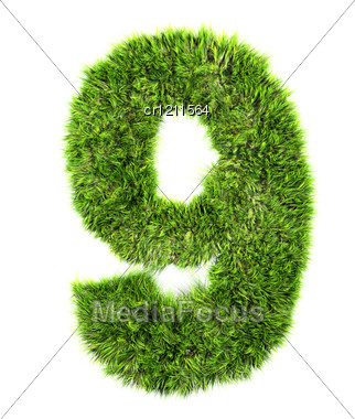 3d Grass Digit - 9 Stock Photo