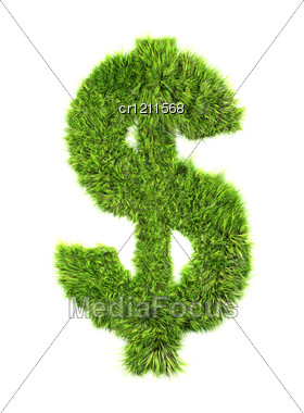 3d Grass Dollar Currency Sign Stock Photo