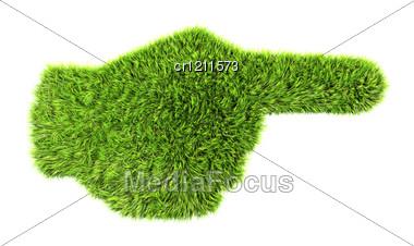 3d Grass Hand Sign Stock Photo