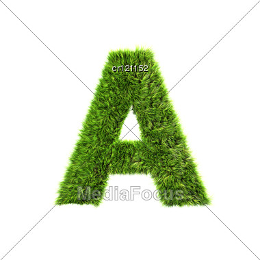 3d Grass Letter - A Stock Photo