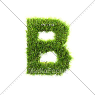 3d Grass Letter - B Stock Photo