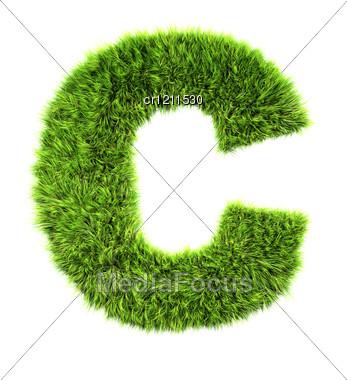 3d Grass Letter - C Stock Photo