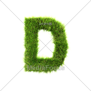 3d Grass Letter - D Stock Photo