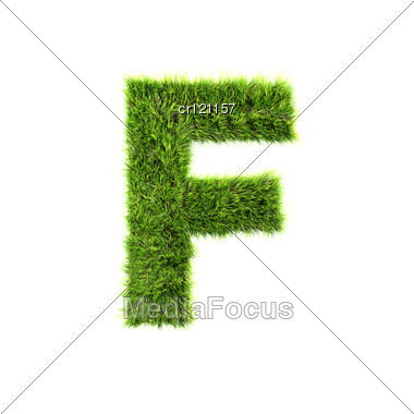 3d Grass Letter - F Stock Photo