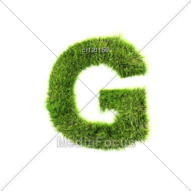 3d Grass Letter - G Stock Photo