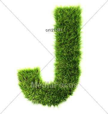3d Grass Letter - J Stock Photo