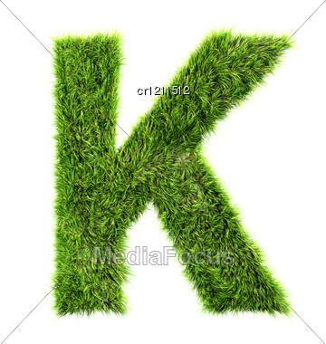 3d Grass Letter - K Stock Photo