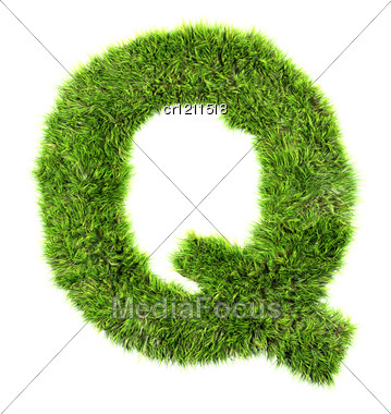 3d Grass Letter - Q Stock Photo