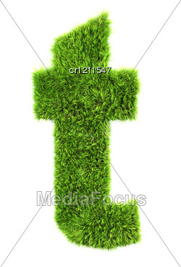 3d Grass Letter - T Stock Photo