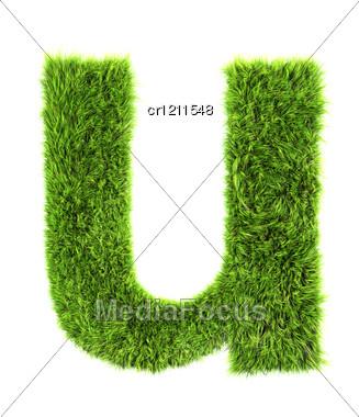 3d Grass Letter - U Stock Photo