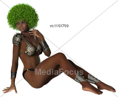 3D Illustration Of A Beautiful African Girl Isolated On White Background Stock Photo