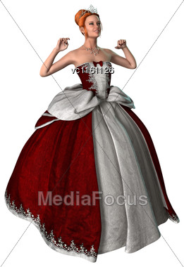 3D Illustration Of A Beautiful Fairytale Princess Isolated On White Background Stock Photo