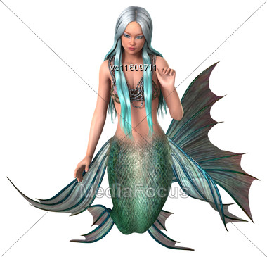 3D Illustration Of A Beautiful Fantasy Mermaid Isolated On White Background Stock Photo