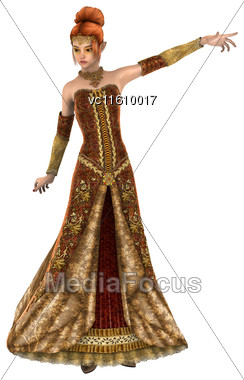 3D Illustration Of A Beautiful Princess Of Autumn Isolated On White Background Stock Photo
