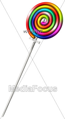 3D Illustration Of A Colourful Lollipop Isolated On White Background Stock Photo