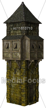 3D Illustration Of A Fairytale Tower Isolated On White Background Stock Photo