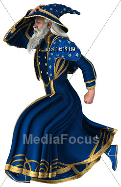 3D Illustration Of A Fantasy Wizard Running Isolated On White Background Stock Photo