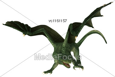 3D Illustration Of A Green Fantasy Dragon Isolated On White Background Stock Photo
