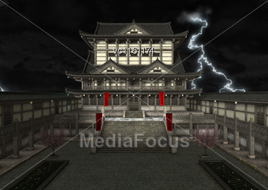 3D Illustration Of A A Japanese Temple On A Night Sky Background Stock Photo