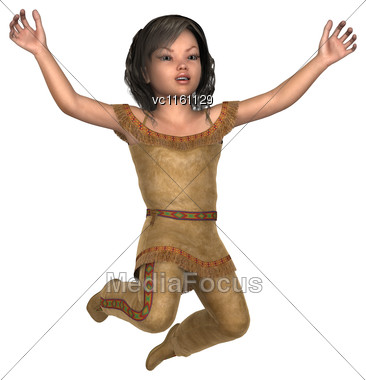 3D Illustration Of A Little Indian Girl Isolated On White Background Stock Photo