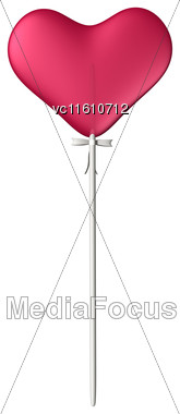 3D Illustration Of A Lollipop Red Heart Isolated On White Background Stock Photo