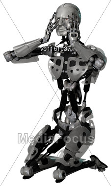 3D Illustration Of A Male Cyborg Isolated On White Background Stock Photo