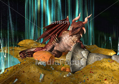 3D Illustration Of A A Red Dragon Lying On A Fairy Tale Treasure Stock Photo