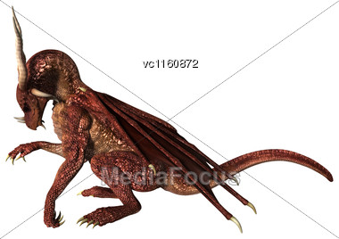 3D Illustration Of A Red Fantasy Dragon Isolated On White Background Stock Photo