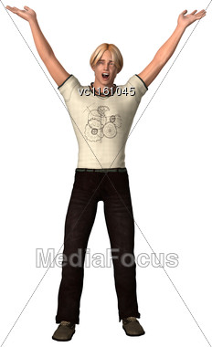 3D Illustration Of A Teenager Boy Isolated On White Background Stock Photo