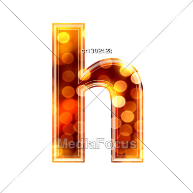 3d Letter With Glowing Lights Texture - H Stock Photo