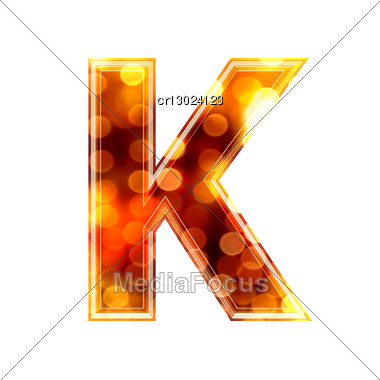 3d Letter With Glowing Lights Texture - K Stock Photo