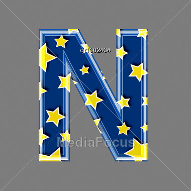 3d Letter With Star Pattern - N Stock Photo