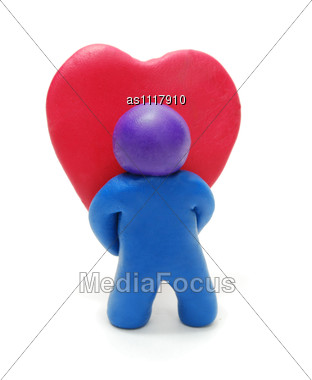 3d Man Holding Valentine's Yeart Gift Stock Photo