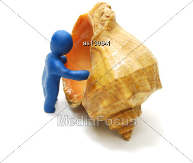 3D Man Of Plasticine Stepping Into Shell Isolated On White Stock Photo