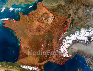 3D Relief Map Of France. Data Source: NASA Stock Photo